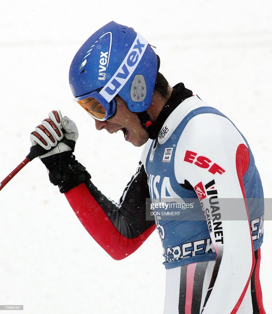 Johan Clarey of France celebrates in the finish area after racing the men's World Cup Alpine downhill 1 December, 2006 in Beaver Creek, Colorado. Clarey finished in 15th place.