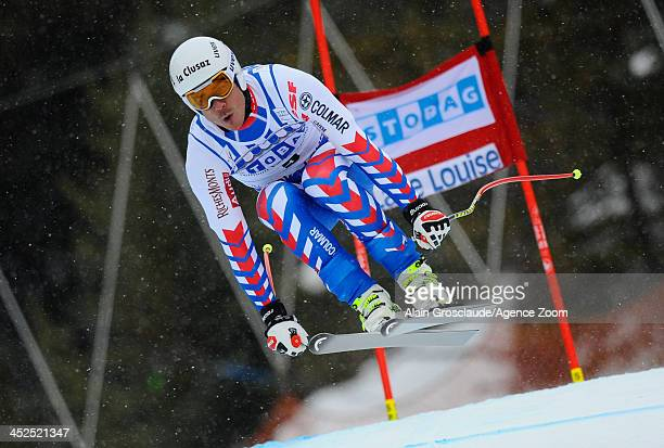 Johan Clarey of France competes during the Audi FIS Alpine Ski World Cup Men's Downhill Training on November 29 2013 in Lake Louise Canada