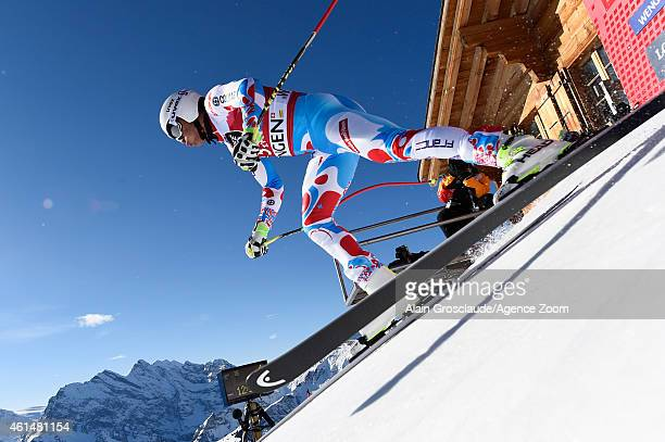 Johan Clarey of France competes during the Audi FIS Alpine Ski World Cup Men's Downhill Training on January 13 2015 in Wengen Switzerland