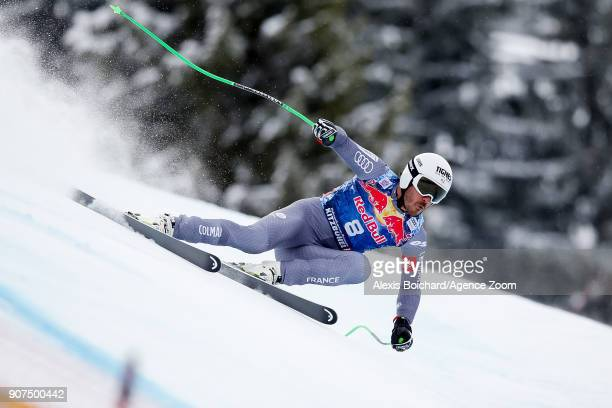Johan Clarey of France competes during the Audi FIS Alpine Ski World Cup Men's Downhill on January 20 2018 in Kitzbuehel Austria
