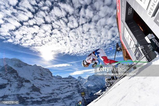 Johan Clarey of France in action during the Audi FIS Alpine Ski World Cup Men's Downhill Training on January 16 2019 in Wengen Switzerland