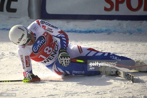 Johan Clarey of France reacts at the finish area of the Men's downhil race of the FIS Alpine Skiing World Cup on January 19 2013 in Wengen AFP PHOTO...