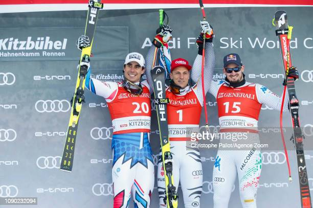 Johan Clarey of France takes 2nd place Josef Ferstl of Germany takes 1st place Dominik Paris of Italy takes 3rd place during the Audi FIS Alpine Ski...