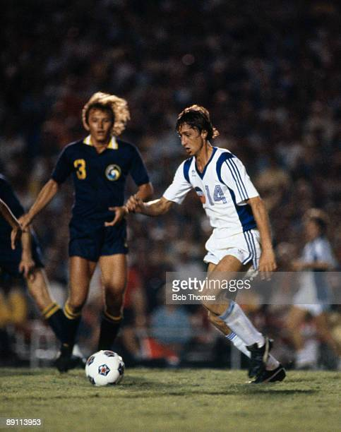 Johan Cruyff in action for the Los Angeles Aztecs against the New York Cosmos in the North American Soccer League circa 1979