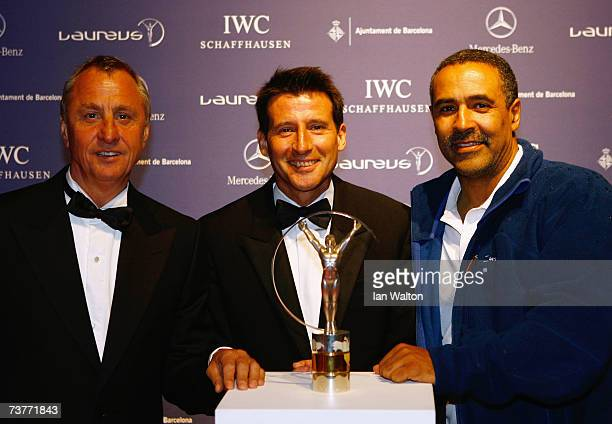 Johan Cruyff Laureus World Sports Academy members Lord Sebastian Coe and Daley Thompson attend the Laureus Sports Awards at the Palau Sant Jordi on...