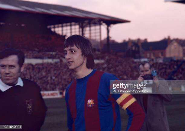 Johan Cruyff of Barcelona before the European Cup Semi Final 1st Leg between Leeds United and Barcelona at Elland Road on April 9 1975 in Leeds...