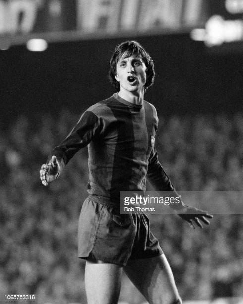 Johan Cruyff of Barcelona in action during the UEFA Cup 4th Round 2nd Leg tie between Barcelona and Aston Villa at Camp Nou on March 15 1978 in...
