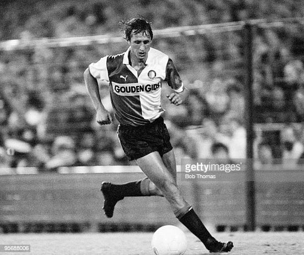 Johan Cruyff of Feyenoord in action against Standard Liege in a tournament held at De Kuip in Rotterdam on 5th August 1983. Standard Liege beat...