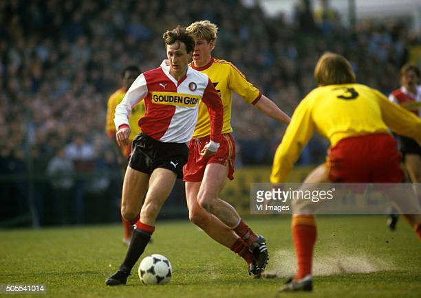 Johan Cruyff Rene Smit during the match between Go Ahead Eagles and Feyenoord on March 18 1984 at De Adelaarshorst stadium in Deventer The Netherlands