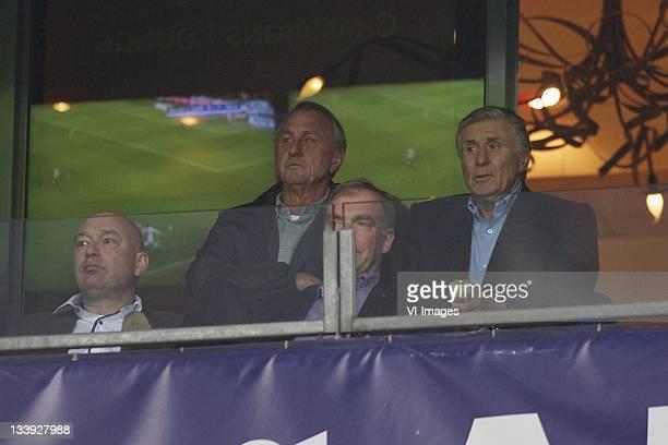 Johan Cruyff, Sjaak Swart during the Dutch Eredivisie match between Ajax and NAC Breda at the Amsterdam Arena November 19, 2011 in Amsterdam,...
