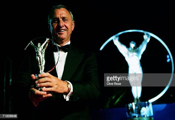 Johan Cruyff wins the Laureus Lifetime Achievement Award during the Laureus World Sports Awards held at the Parc del Forum on May 22 2006 in...