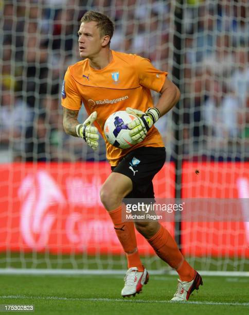 Johan Dahlin of Malmo in action during the UEFA Europa League third round qualifying first leg match between Swansea City and Malmo at the Liberty...