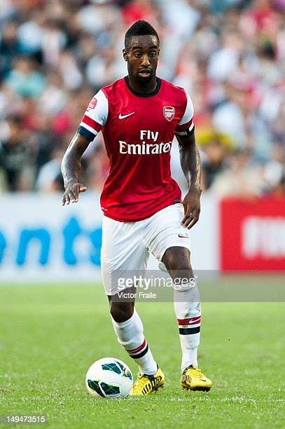 Johan Djourou of Arsenal FC in action during the preseason Asian Tour friendly match between Kitchee FC and Arsenal at Hong Kong Stadium on July 29...