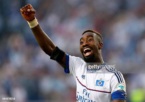 Johan Djourou of Hamburg celebrates after winning the Bundesliga match between Hamburger SV and VfB Stuttgart at Volksparkstadion on August 22 2015...