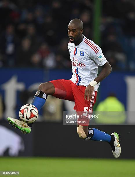 Johan Djourou of Hamburg in action during the Bundesliga match between Hamburger SV and VfB Stuttgart at Imtech Arena on December 16 2014 in Hamburg...