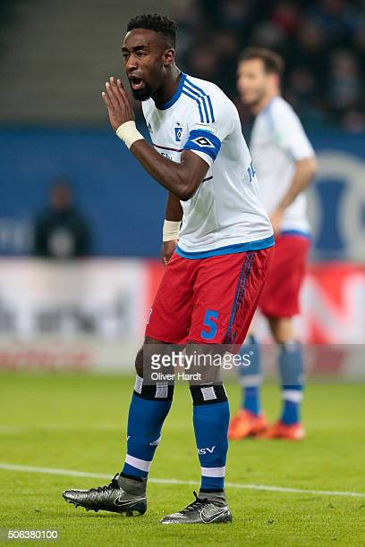 Johan Djourou of Hamburg in action during the Bundesliga match between Hamburger SV and FC Bayern Muenchen at Volksparkstadion on January 22 2016 in...