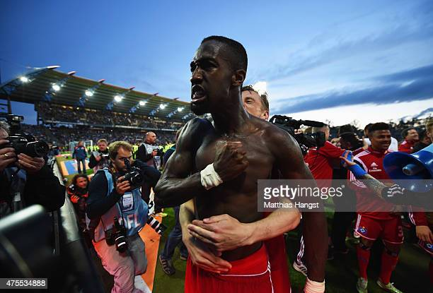 Johan Djourou of Hamburger SV celebrates victory after the Bundesliga playoff second leg match between Karlsruher SC and Hamburger SV on June 1 2015...