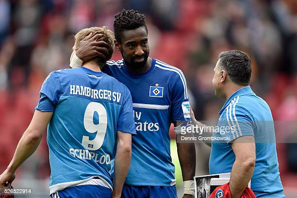 Johan Djourou of Hamburger SV reacts after the Bundesliga match between 1 FSV Mainz 05 and Hamburger SV at Coface Arena on April 30 2016 in Mainz...