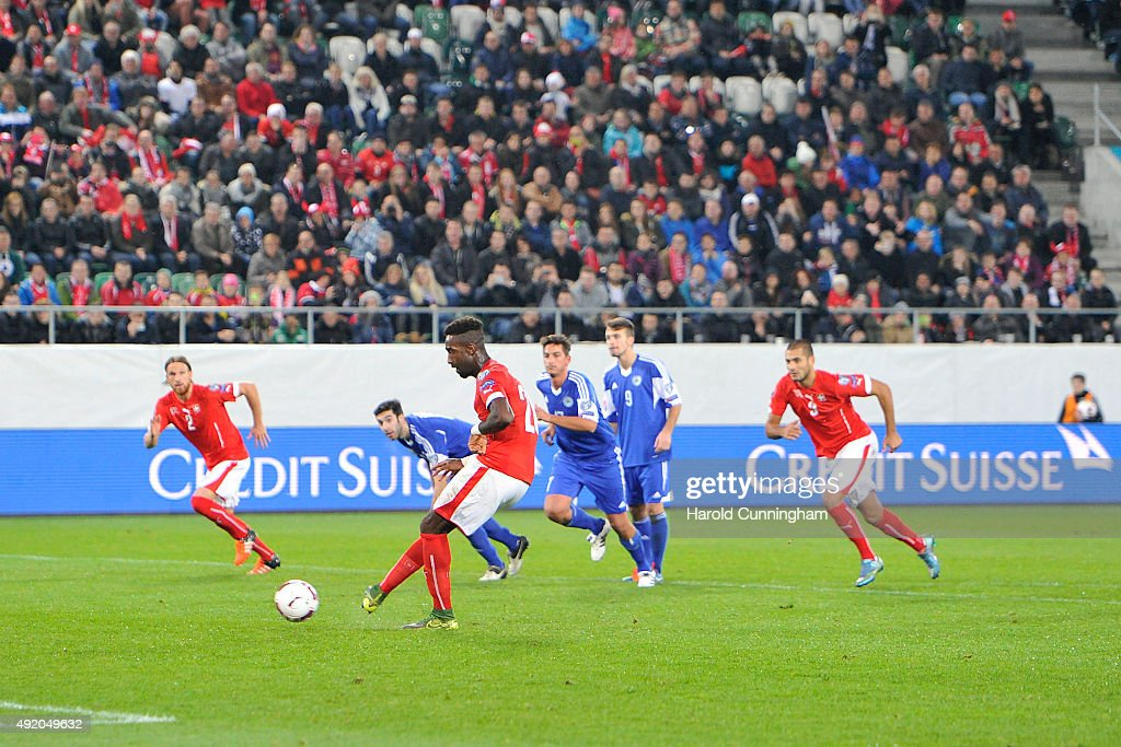 Johan Djourou of Switzerland shoots the second penalty during the UEFA EURO 2016 qualifier between Switzerland and San Marino at AFG Arena on October 9, 2015 in St Gallen, Switzerland.