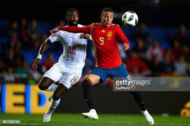 Johan Djourou Rodrigo Moreno during a International friendly match between Spain against Switzerland in La Ceramica Stadium Villarreal Spain on 03...