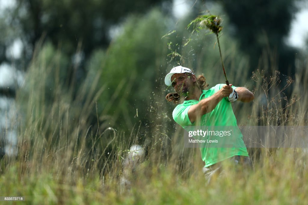 Johan Edfors of Sweden hits his second shot on the 3rd hole during round one of the Saltire Energy Paul Lawrie Matchplay at Golf Resort Bad Griesbach on August 17, 2017 in Passau, Germany.