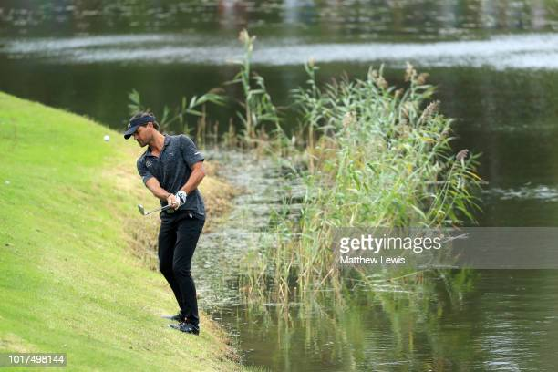 Pontus Widegren of Sweden plays his third shot on the 8th hole Masters at Hills Golf Sports Club on August 16 2018 in Gothenburg Sweden