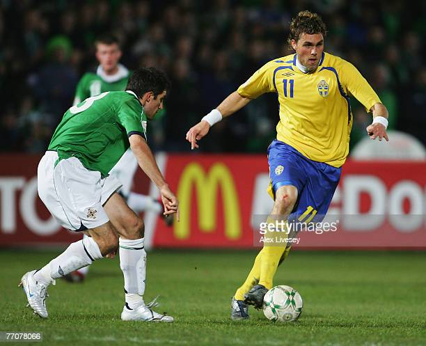 Johan Elmander of Sweden in action during the Euro2008 Group F Qualifying match between Northern Ireland and Sweden at Windsor Park on March 28 2007...