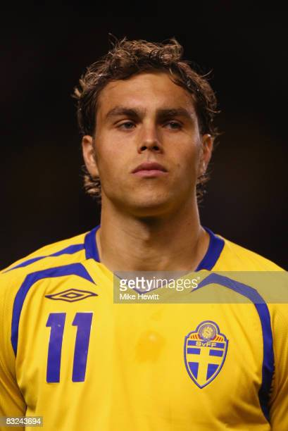 Johan Elmander of Sweden prior to the FIFA 2010 World Cup European Group 1 Qualifier between Sweden and Portugal at the Rasunda Stadium on October 11...
