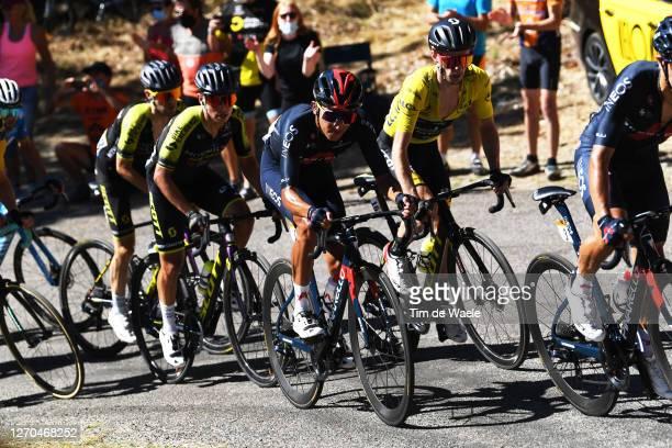 Johan Esteban Chaves Rubio of Colombia and Team Mitchelton - Scott / Egan Arley Bernal Gomez of Colombia and Team INEOS Grenadiers / Adam Yates of...
