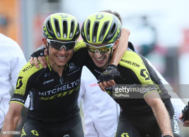Johan Esteban Chaves Rubio of Colombia and Team MitcheltonScott and Simon Yates of Great Britain and Team MitcheltonScott during arrival at the 101th...