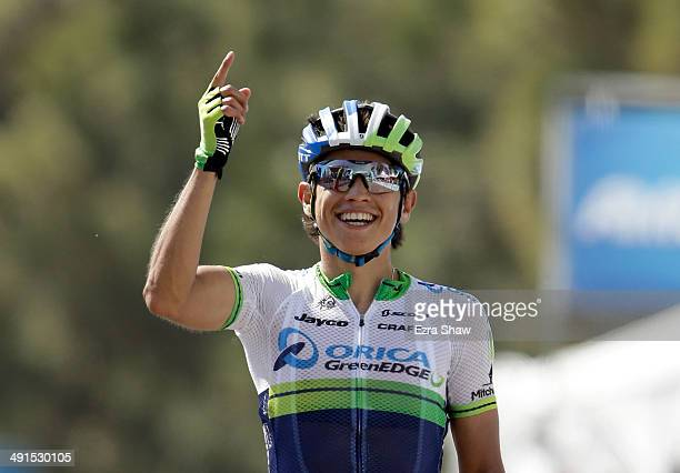 Johan Esteban Chaves Rubio of Columbia riding for Orica Greenedge celebrates after winning stage six of the 2014 Amgen Tour of California from Santa...