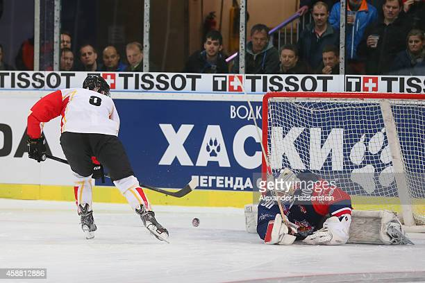 Johan Forsberg of Lulea scores the winning goal against Bernd Bruckler goalie of Salszburg in the penalty shot out after the Champions Hockey League...