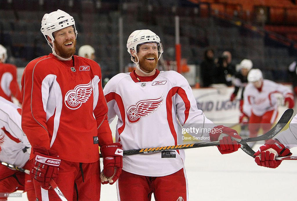 Johan Franzen #93 and Kris Draper #33 of the Detroit Red Wings participate in a team practice for the 2008 NHL Stanley Cup Finals at Mellon Arena on May 30, 2008 in Pittsburgh. Pennsylvania.