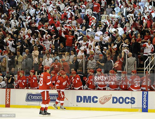 Johan Franzen of the Detroit Red Wings celebrates a firstperiod goal with teammates during action against the Anaheim Ducks in Game One of the...