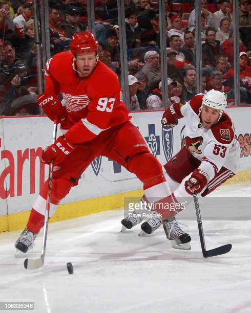 Johan Franzen of the Detroit Red Wings controls puck next to Derek Morris of the Phoenix Coyotes during a NHL game at Joe Louis Arena on October 28...
