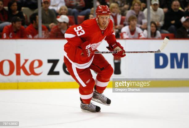 Johan Franzen of the Detroit Red Wings skates against the Colorado Avalanche during their NHL game on February 1 2008 at Joe Louis Arena in Detroit...