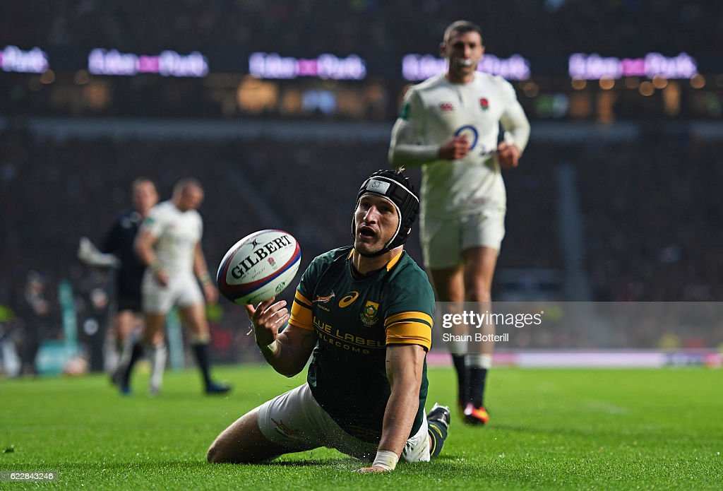 Johan Goosen of South Africa reacts after scoring his team's first try during the Old Mutual Wealth Series match between England and South Africa at Twickenham Stadium on November 12, 2016 in London, England.