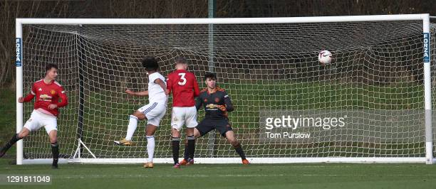 Johan Guadagno of Manchester United U18s in action during the U18 Premier League match between Manchester United U18s and Leeds United U18s at Aon...