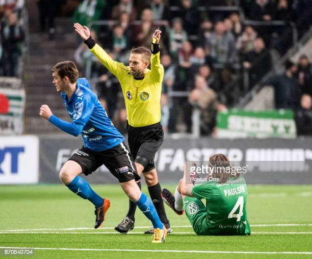 Johan Hamlin referee during the Allsvenskan match between Hammarby IF and Halmstad BK at Tele2 Arena on November 5 2017 in Stockholm Sweden