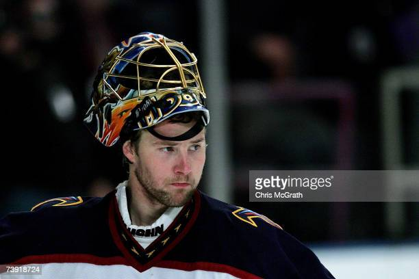 Johan Hedberg of the Atlanta Thrashers looks on against the New York Rangers during game four of the 2007 Eastern Conference Quarterfinals on April...