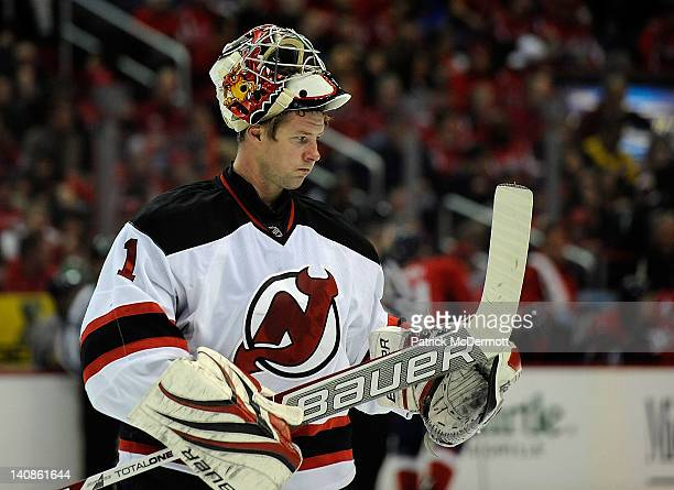 Johan Hedberg of the New Jersey Devils looks on during a game against the Washington Capitals at Verizon Center on March 2 2012 in Washington DC