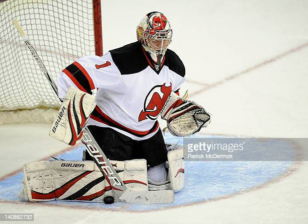 Johan Hedberg of the New Jersey Devils warms up before a game against the Washington Capitals at Verizon Center on March 2 2012 in Washington DC