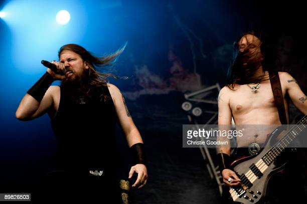 Johan Hegg and Ted Lundstrom of Amon Amarth perform on stage on the last day of Bloodstock Open Air festival at Catton Hall on August 16 2009 in...