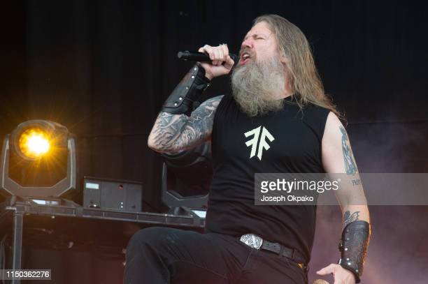 Johan Hegg from Amon Amarth performs on stage during day 3 of Download festival 2019 at Donington Park on June 16 2019 in Castle Donington England