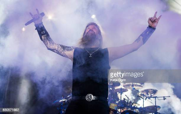 Johan Hegg of Amon Amarth performing live on stage on day 1 at Bloodstock Festival at Catton Hall on August 11 2017 in Burton Upon Trent England