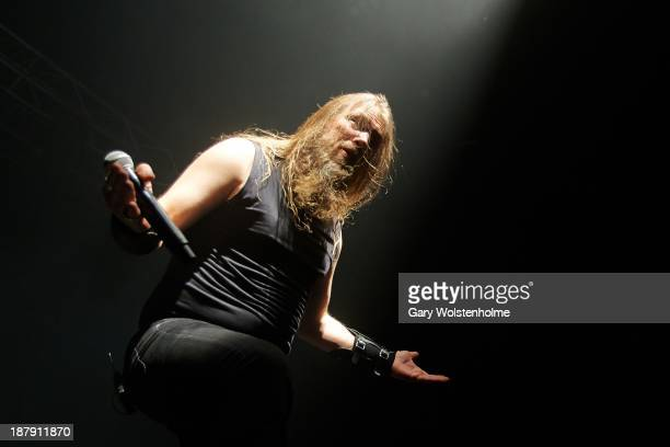 Johan Hegg of Amon Amarth performs on stage at O2 Academy on November 13 2013 in Manchester United Kingdom
