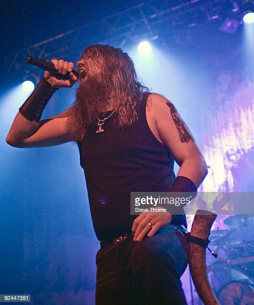 Johan Hegg of Amon Amarth performs on stage at Wulfrun Hall on October 28 2009 in Wolverhampton England