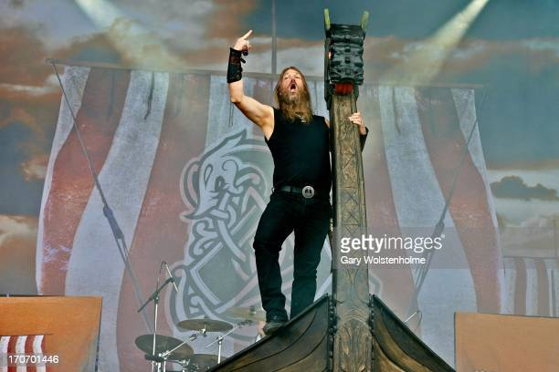 Johan Hegg of Amon Amarth performs on stage on Day 3 of Download Festival 2013 at Donnington Park on June 16 2013 in Donnington England