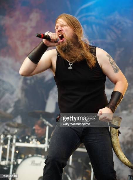 Johan Hegg of Amon Amarth performs on stage on the last day of Bloodstock Open Air festival at Catton Hall on August 16 2009 in Derby England