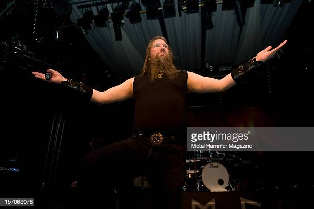 Johan Hegg of Swedish melodic death metal band Amon Amarth performing live onstage at Hammerfest March 17 Prestatyn